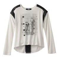 Star Wars Faux-Leather Trim Laser Cut Top - Girls 7-16