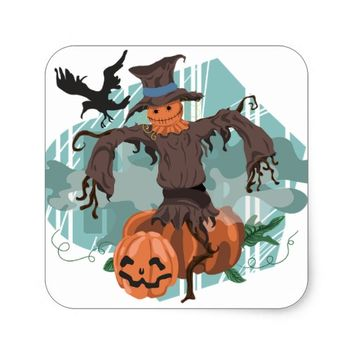 awesome Halloween scarecrow Square Sticker