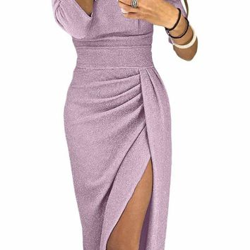 Rosy Pink Metallic Glitter Off Shoulder Formal Dress