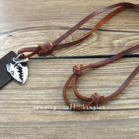 Leather necklace, metal fish leather necklace pendant, men's necklace, women leather necklace, necklace, holiday gifts SL63