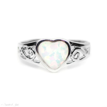 Sterling Silver White Opal Inlay Filigree Heart Ring