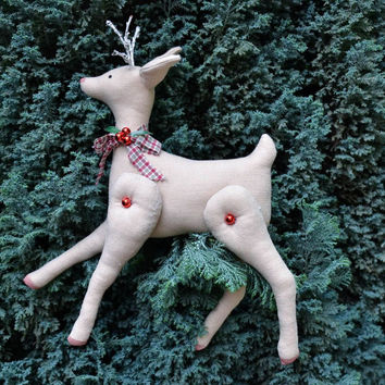 New Year handmade decoration Fawn Christmas tree toy soft ornament original gift