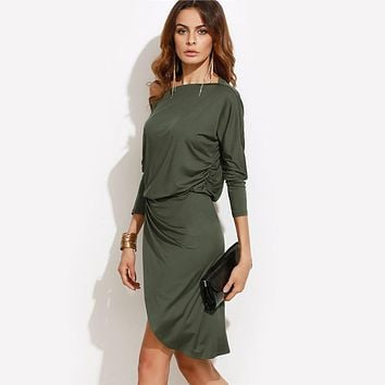Off Shoulder Asymmetric Overlap Army Green Autumn Party Dresses Long Sleeve