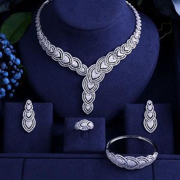white gold-color leaf  Shape Bridal Cubic Zirconia 4pcs Big Necklace Earrings Bracelet Ring Wedding Jewelry Sets For Brides