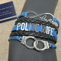 police wife - law enforcement - police officer gift - thin blue line - handcuffs - crime - blue lives matter - police girlfriend