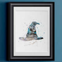 Watercolor Harry Potter   Sorting Hat Home Print   8.5 x 11   Wall Decor