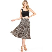 Satin Pleat Midi Skirt