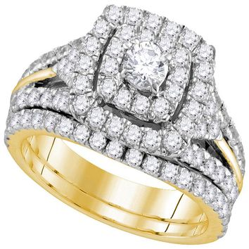14kt Yellow Gold Womens Round Diamond Certified Double Halo Bridal Wedding Engagement Ring Band Set 1-7/8 Cttw