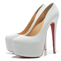 christian louboutin 16CM white patent leather shoes