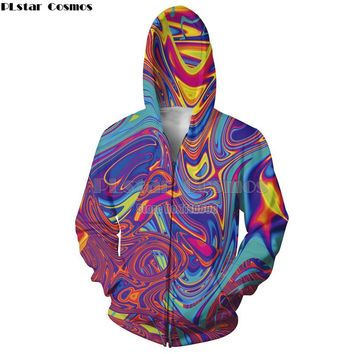 PLstar Cosmos 2018 New Fashion Zipper Hoodie Oil Spill hoodies psychedelic swirl of vibrant colors Print 3d Unisex Hoody Jacket