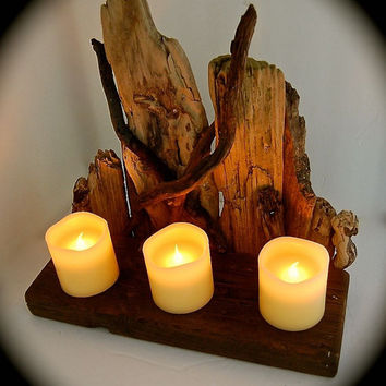 Driftwood Sculpture Remote Control LED Candles!!!!!!! Unique-Driftwood-ONE of a KIND- BeachDazzled Style Sculpture With an Electronic Twist