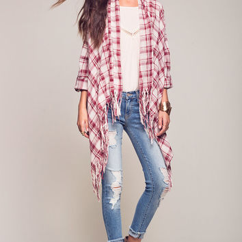 Plaid Cardigan With Fringe Hem
