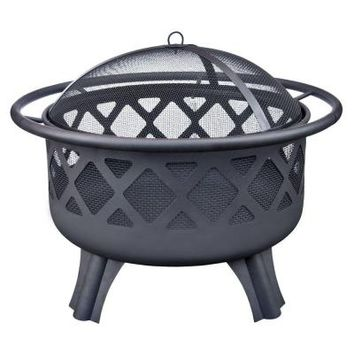 Hampton Bay Crossfire 29.50 in. Steel Fire Pit with Cooking Grate-25915 - The Home Depot