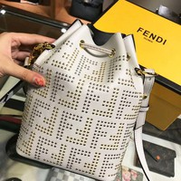 FENDI Fashionable Women Leather Shoulder Bag Rivet Crossbody Satchel Backpack School Bag