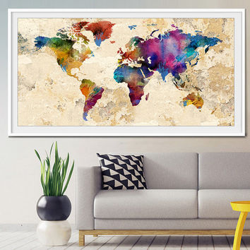 Abstract World Map, Abstract Art, Art Print, World Map Art, Large World Map, Abstract Art Print, Abstract World Map, Abstract Painting-x29