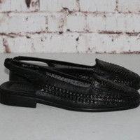 90s Black Leather Woven Flats Sandals US 10 UK 8 EUR 42 Hipster Boho Minimalist Grunge Shoes Sling Back Hippie Gypsy