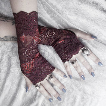 Dervish Long Lace Fingerless Gloves - Dark Mahogany Brown & Copper Floral Embroidered - Gothic Wedding Tribal Bellydance Mehndi Goth Mori