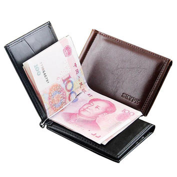 Hot Sale Business Portable Style Men money Clip Wallets With Metal Hasp Card Slots Black Brown Colors Slim Wallet Free Shipping