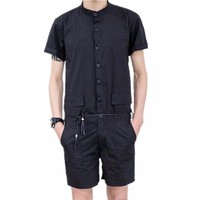 Solid Color Overall Male Short Romper