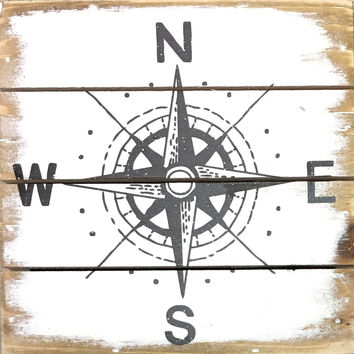 Weathered Coastal Plank Board Sign with Compass Star - 6-in