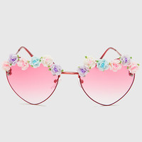 Heart Floral Sunglasses - Red - One Size / Red