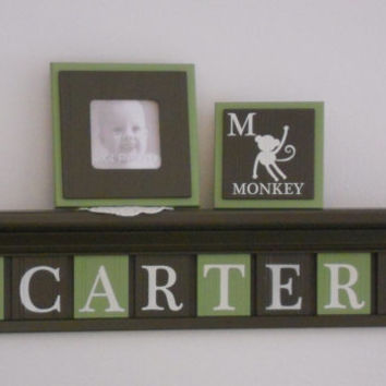 "Baby Nursery Boy Name Sign Shelf with Monkeys 30"" Brown Shelf 8 Personalized Green / Chocolate Brown Plaques Baby Name Sign CARTER - Monkeys"
