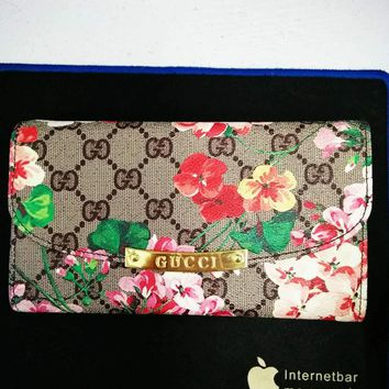 GUCCI Women Hold Sale New Fashion Floral Print Multicolor Leather Wallet Purse Satchel Tote Handbag