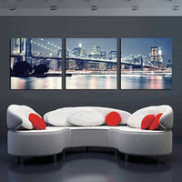 Canvas Prints New York City Landscape Oil Painting Beautiful Modern Bridge Picture Wall Art Decor Painting Printed On Canvas
