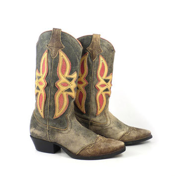 Nine West Boots Vintage 1980s Blue Yellow Red Brown Leather Cowboy Women's size 8 1/2