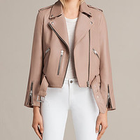 ALLSAINTS US: Womens Balfern Leather Biker Jacket (BLUSH PINK)