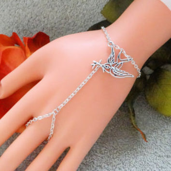 Slave Bracelet, Bird, Branch, Hand Chain, Infinity Ring, Hand Harness, Hand Jewelry,  Silver