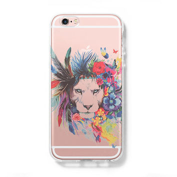 Abstract Color Lion Animal iPhone 6 Case iPhone 6+ SE Case Galaxy S6 Edge Clear Hard Case C176