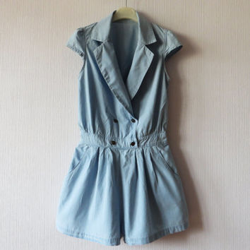 Blue Denim Women Romper Jean Overall One Piece Jumpsuit Shorts Pantsuit Button up Hippie Festival Hipster Small