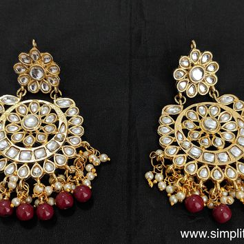 Circle Kundan stone replica Earring - Design 7
