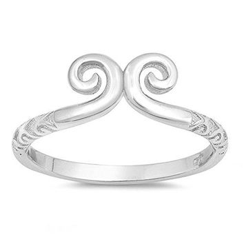 Swirl High Polish Fashion Statement Ring New 925 Sterling Silver Band Sizes 410
