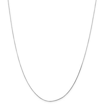 14K White Gold 0.70mm Octagonal Snake Chain Necklace - Fine Jewelry Gift