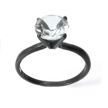 Ice Crystal Solitaire Ring Diamond Alternative by abishessentials