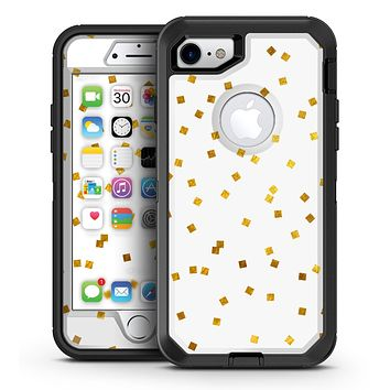 Scattered Micro Blocks of Gold Over White - iPhone 7 or 7 Plus OtterBox Defender Case Skin Decal Kit