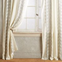 Embroidered Hilvi Curtain by Anthropologie in Ivory Size: