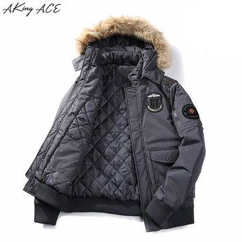 2017 Brand AKing ACE Mens Winter Men Jacket with Hood Parka Cotton Male Military Jackets Vintage Coat Thick Clothing A305 45