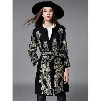 Slim Gold Thread Embroidered Long Belted Wool Coat - Black L