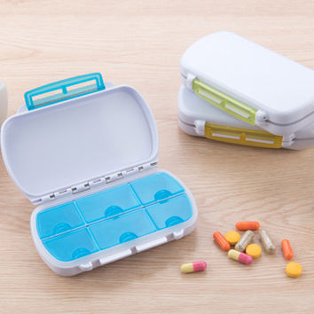 New 2016 Cute Mini 6 Slots Portable Medical Pill Box Tablet Medicine Storage Dispenser Holder Case Organizer For Travel XN039