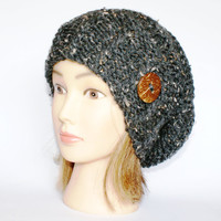 Slouchy beanie hat dark gray tweed slouch hats beanies chunky knitted hat irish handknit hats charcoal grey beanie women accessory button