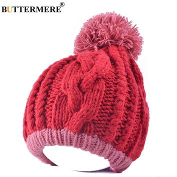 BUTTERMERE Brand Pink Colorblock Knit Beanie Cap With A Pompon Women Kawaii Winter Hat Thick Fashionable Designer Hats And Caps