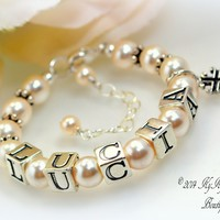 Personalized Pearl Flower Girl Bracelet with Cross Charm