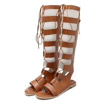 Gladiator Roman Leather Cut Out  Lace Up Open Toe Knee Borwn Flat Sandals