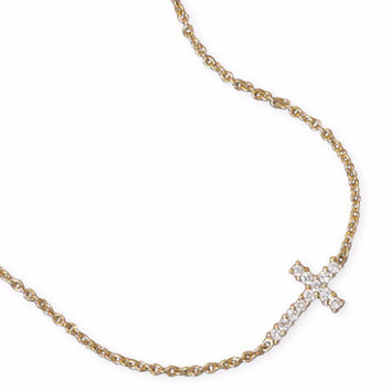 Sideways CZ Cross Necklace