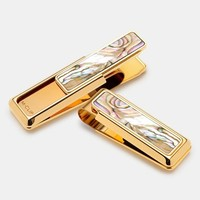 Men's M-Clip 'New Yorker - Abalone' Money Clip - Metallic