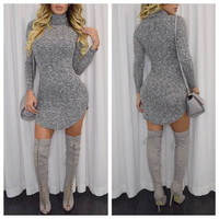 Grey Turtleneck Knitted Bodycon Mini Dress