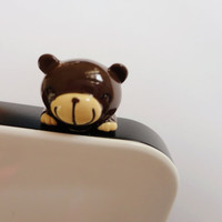 SALE 80-20%OFF: Cute Chocolate Brown Bear // iPhone Plug . Phone Charm . Phone Plug . Dust Plug - Hand Painted, bear, Kawaii, Girly
